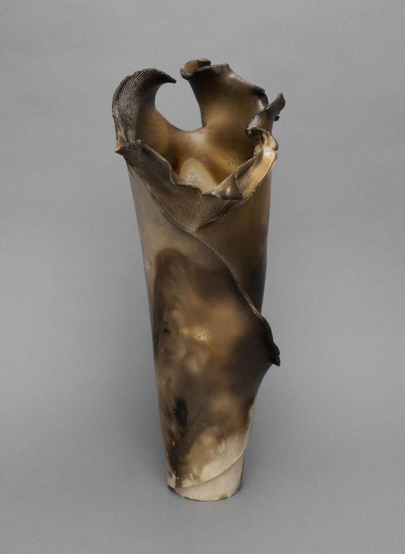 Vessel Vase Raku Smoke Large Cylinder 7x9x17
