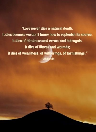 """""""Love never dies a natural death. It dies because we don't know how to replenish its source. It dies of blindness and errors and betrayals. It dies of illness and wounds; it dies of weariness, of witherings, of tarnishings."""" ― Anais Nin"""