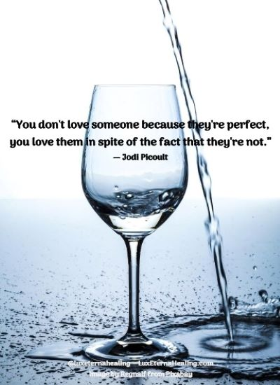 """You don't love someone because they're perfect, you love them in spite of the fact that they're not."" ― Jodi Picoult"
