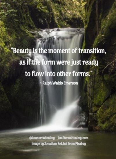 """Beauty is the moment of transition, as if the form were just ready to flow into other forms."" ~ Ralph Waldo Emerson"