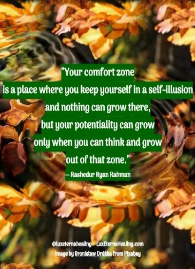 """""""Your comfort zone is a place where you keep yourself in a self-illusion and nothing can grow there, but your potentiality can grow only when you can think and grow out of that zone."""" ― Rashedur Ryan Rahman"""