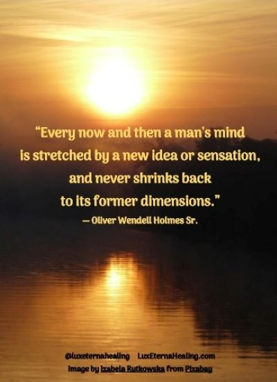 """""""Every now and then a man's mind is stretched by a new idea or sensation, and never shrinks back to its former dimensions."""" ― Oliver Wendell Holmes Sr."""