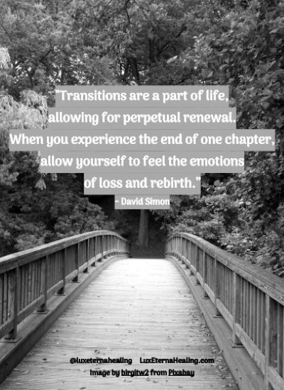 """""""Transitions are a part of life, allowing for perpetual renewal. When you experience the end of one chapter, allow yourself to feel the emotions of loss and rebirth."""" ~ David Simon"""