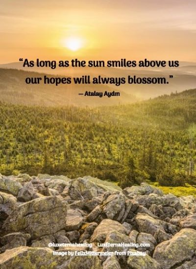 """As long as the sun smiles above us our hopes will always blossom."" ― Atalay Aydın"