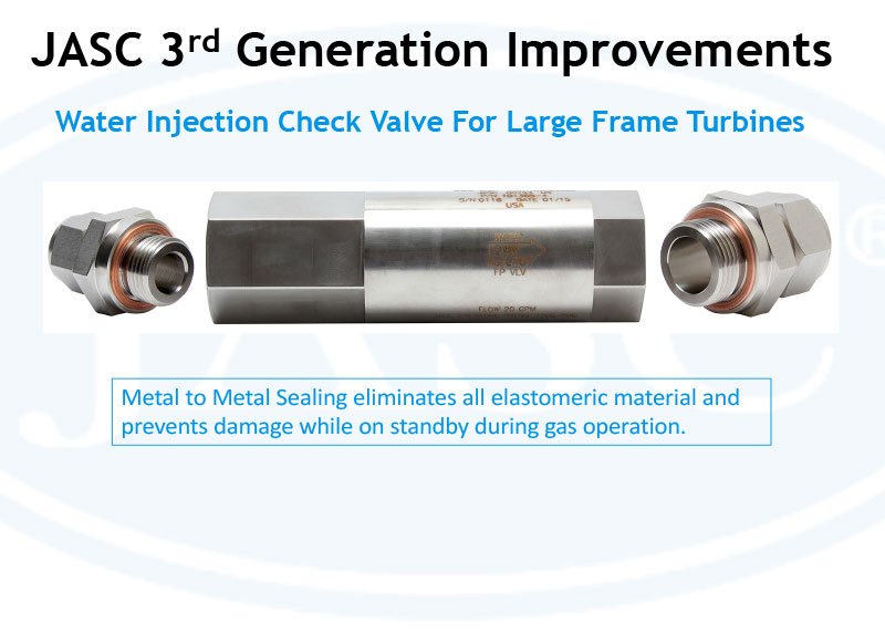 Water Injection Check Valve for Large Frame Turbines
