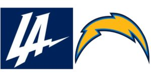 LA Chargers logos before and after
