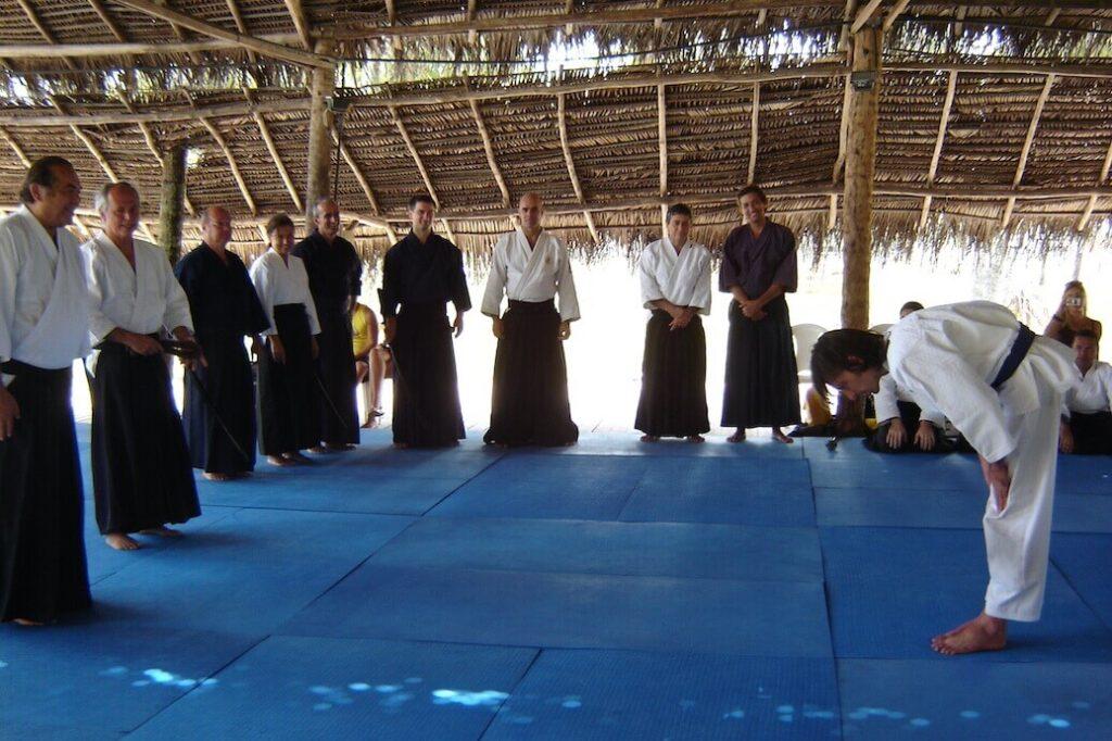 Recebendo o 1º kyu em Recife (Brasil) em 2007.
