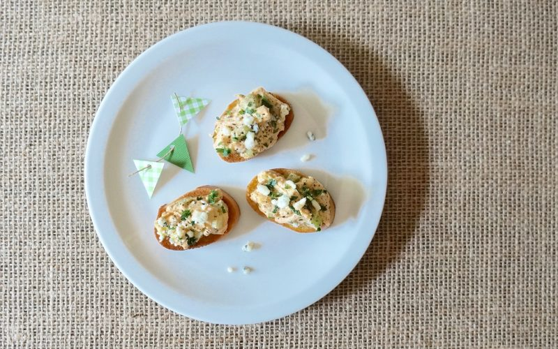 Southern-Tailgating-Recipes-Buffalo Chicken Crostini-By-Rebecca-Gordon-Editor-In-Chief-Buttermilk-Lipstick.-Game-Day-Entertaining-Tailgating-Recipes-By-Rebecca-Gordon-Editor-In-Chief-Buttermilk-Lipstick-Game-Day-Entertaining-Southern-Tailgating-Recipes-Football-Party-Menus-Dip-Appetizer-Sandwich-Tailgate-Party-Classic-Tailgate-Recipes-gameday-entertaining-ideas-TV-Cooking-Personality-Pastry-Chef-Birmingham-Alabama-Tailgating-Football-Crafts-Southern-Entertaining-Southern-Hostess