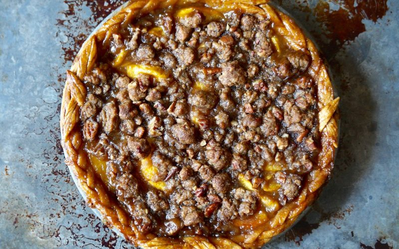 Bourbon-Pecan Peach Pie By Rebecca Gordon Buttermilk Lipstick TV Cooking Personality Birmingham Alabama Pastry Chef Editor-in-Chief Writer Author Tailgating Expert Gameday Hostess Tide & Tigers Today Tailgate Host WBRC Fox 6 Cooking Lessons How To Make Peach Pie
