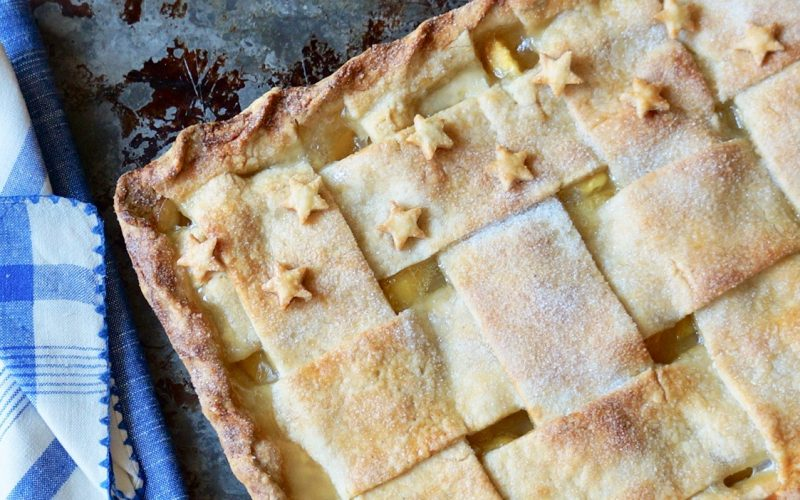 Stars Fell On Alabama Peaches Slab Pie By Rebecca Gordon Buttermilk lIpstick Editor-in-Chief TV Cooking Personality Food Stylist Writer Author Tailgating Expert Southern Hostess Sports Entertaining Tide & Tigers Today Tailgate Host WBRC Fox 6 Birmingham Alabama Cooking Lessons How To Make Lattice Topped Peach Pie