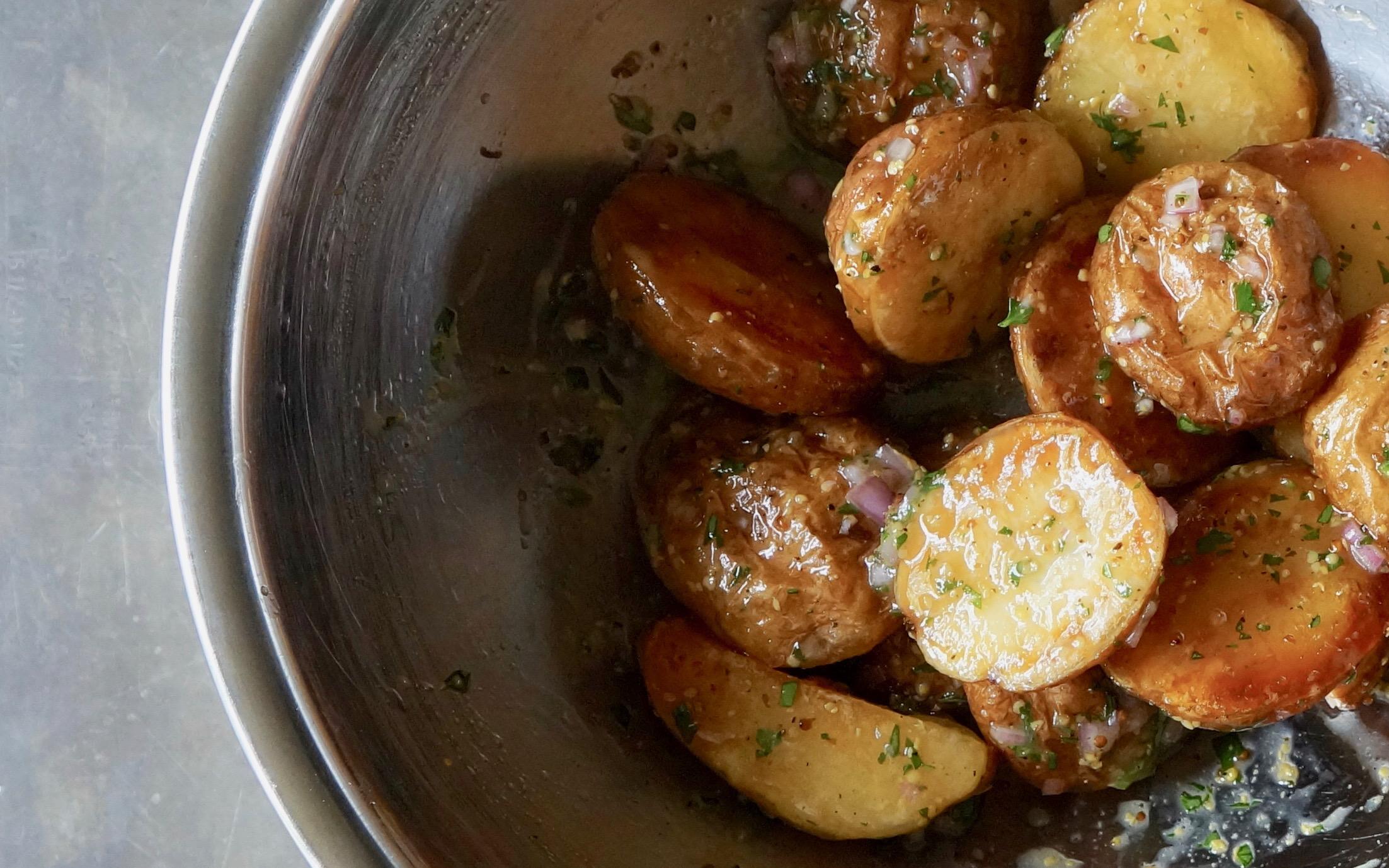 Bourbon-Mustard-Roasted Potato Salad-Rebecca-Gordon-Publisher-Buttermilk-Lipstick-Culinary-Entertaining-Technique-RebeccaGordon-Pastry-Chef-Birmingham-Alabama