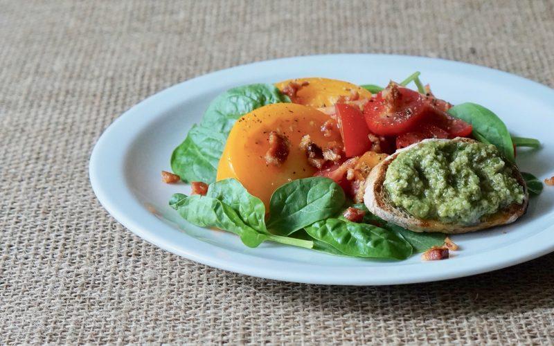 Spinach-Bacon-Salad-With Pesto Croutons-Rebecca-Gordon-Editor-In-Chief-Buttermilk-Lipstick-Culinary-Entertaining-Techniques-Garden-Recipes-RebeccaGordon-Chef-Gardener-Southern-Hostess-Birmingham-Alabama