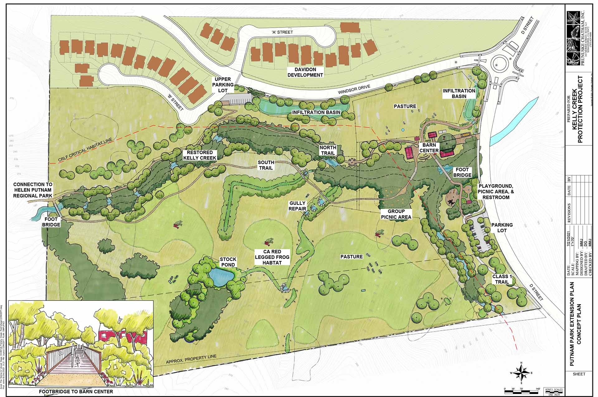 Map of proposed park extension and housing plan. Details include drawings of the proposed homes, new streets, riparian area around Kelly Creek, parking lots, and barn center. The map includes labels that show the two proposed infiltration basins, new trails, and other details.