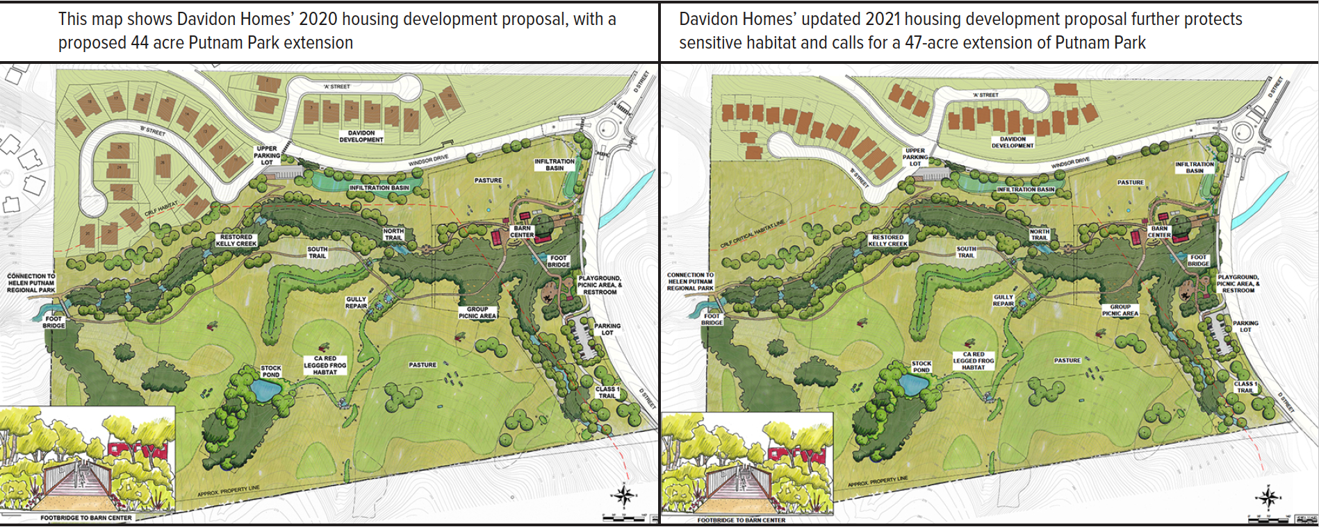 Side by side comparison of 2 versions of Map of proposed park extension and housing plan. Details include drawings of the proposed homes, new streets, riparian area around Kelly Creek, parking lots, and barn center. The map includes labels that show the two proposed infiltration basins, new trails, and other details.