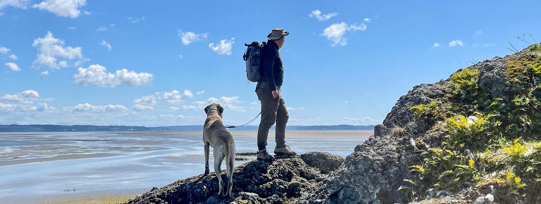 Marcus Badgley and his dog Tiffany on a hike to Craft Island, Skagit County, WA