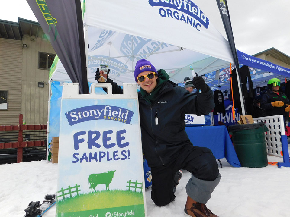 Smiles At The Stonyfield Booth