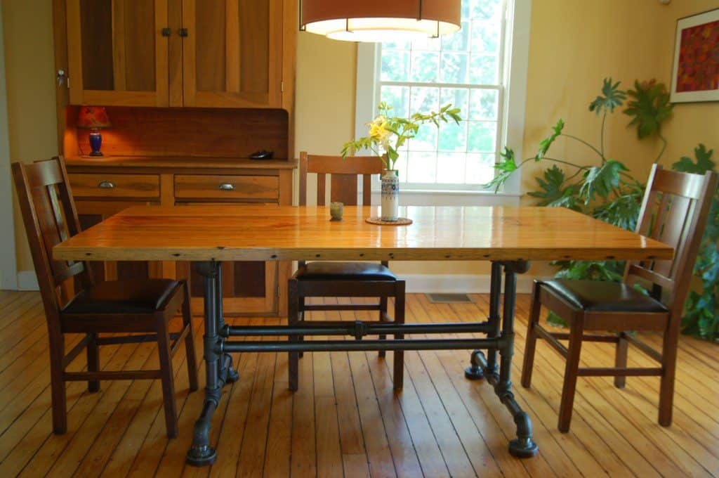 Pine and pipe dining table
