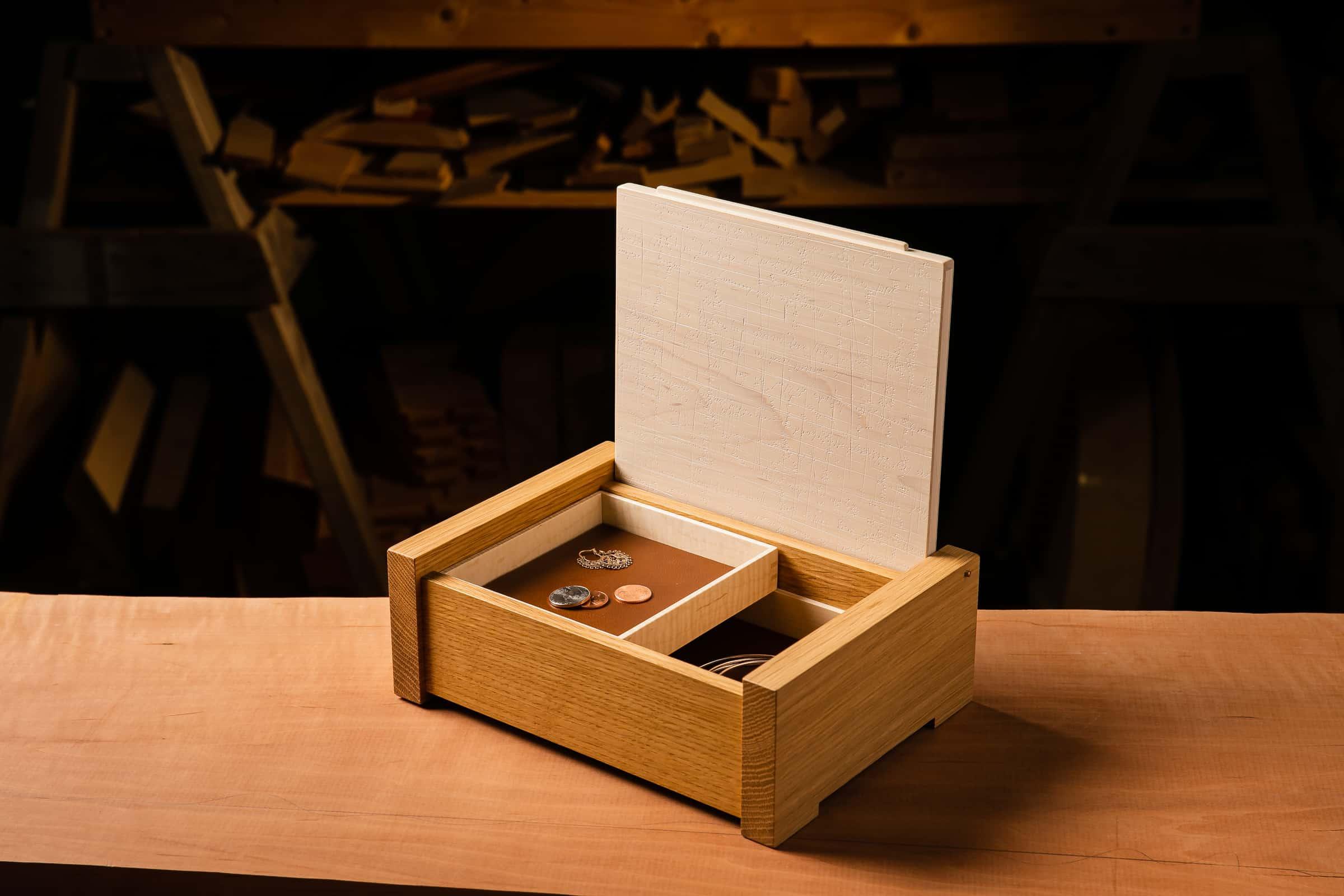 Modern White Oak Jewelry Box
