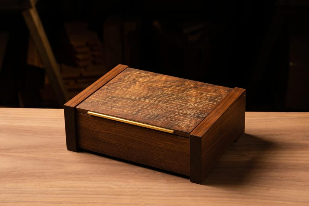 Walnut and Gold Jewelry Box