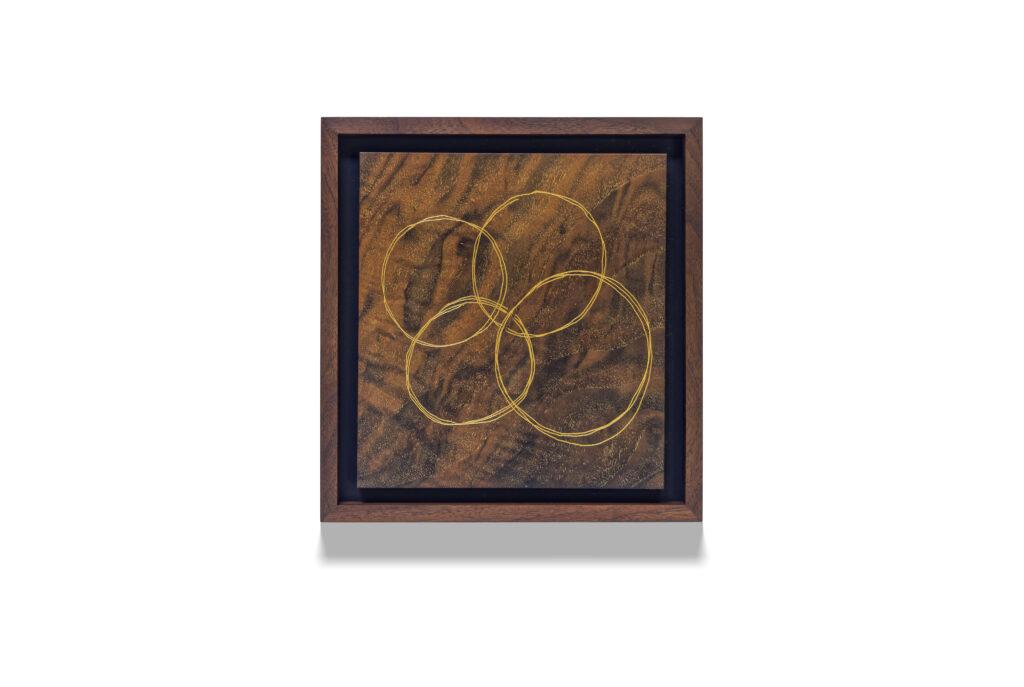 Walnut 4 Rings wood drawing