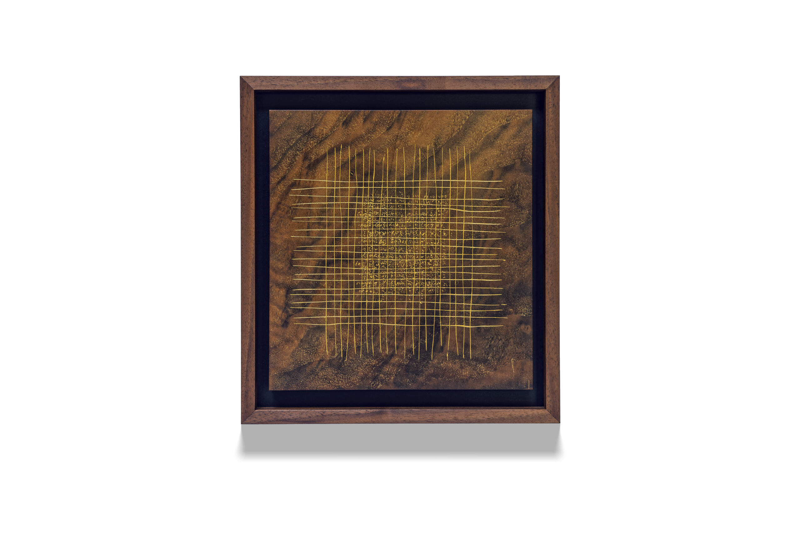 Walnut Grid Palimpsest wood drawing