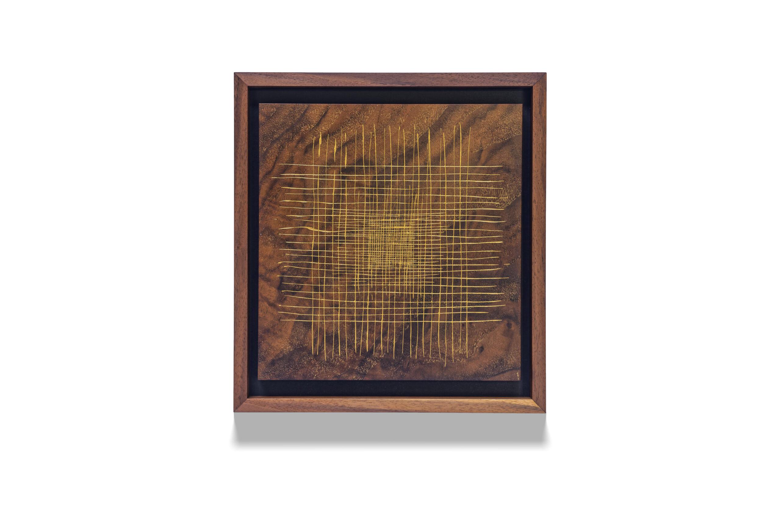 Walnut Grid X2 wood drawing