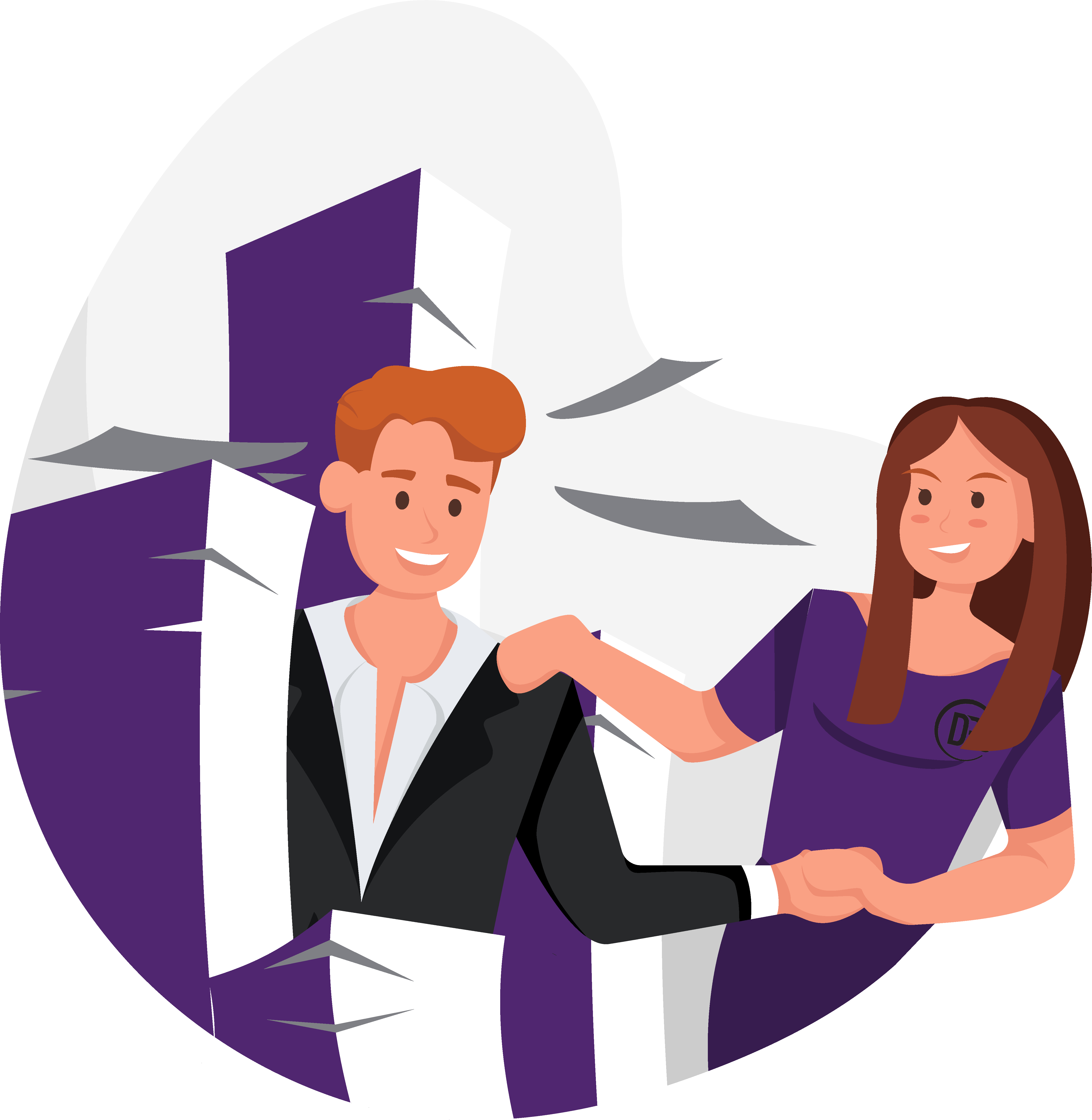 Illustration of a man and woman working with a stack of papers