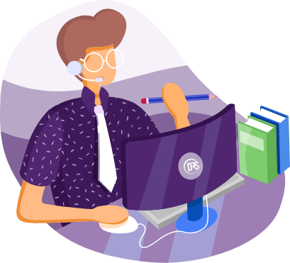 Illustration of a person with glasses on the phone behind the computer
