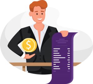 Illustration of a man holding a coin and a long pricing sheet