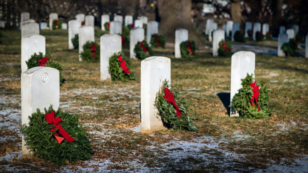 National Wreaths Across America Day - wreaths placed on veterans graves