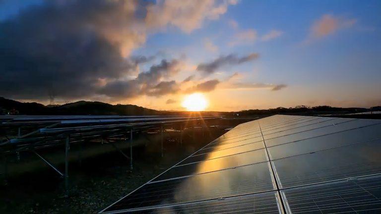 Solar cell panels at solar farm