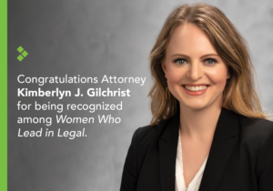 Image of attorney Kimberlyn Gilchrist with description of her being nominated for Women Who Lead in Legal category.
