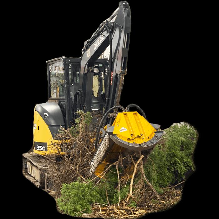 Mongo Mulcher on John Deere Excavator