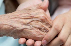 caregiver comforting someone