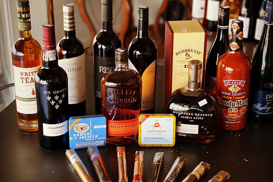 wine, bourbon, and cigars