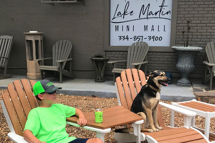 kid and dog on patio chairs