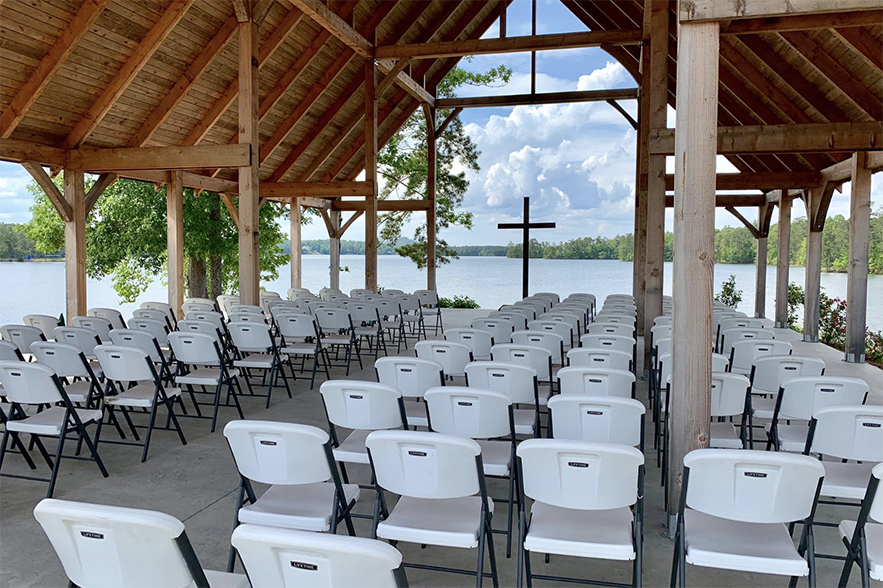 outdoor venue with cross