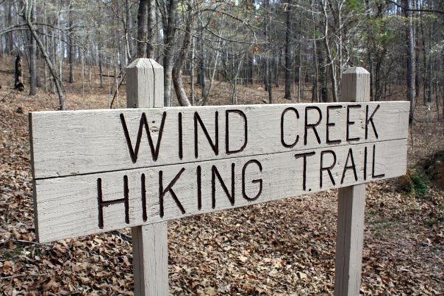 wind creek hiking sign