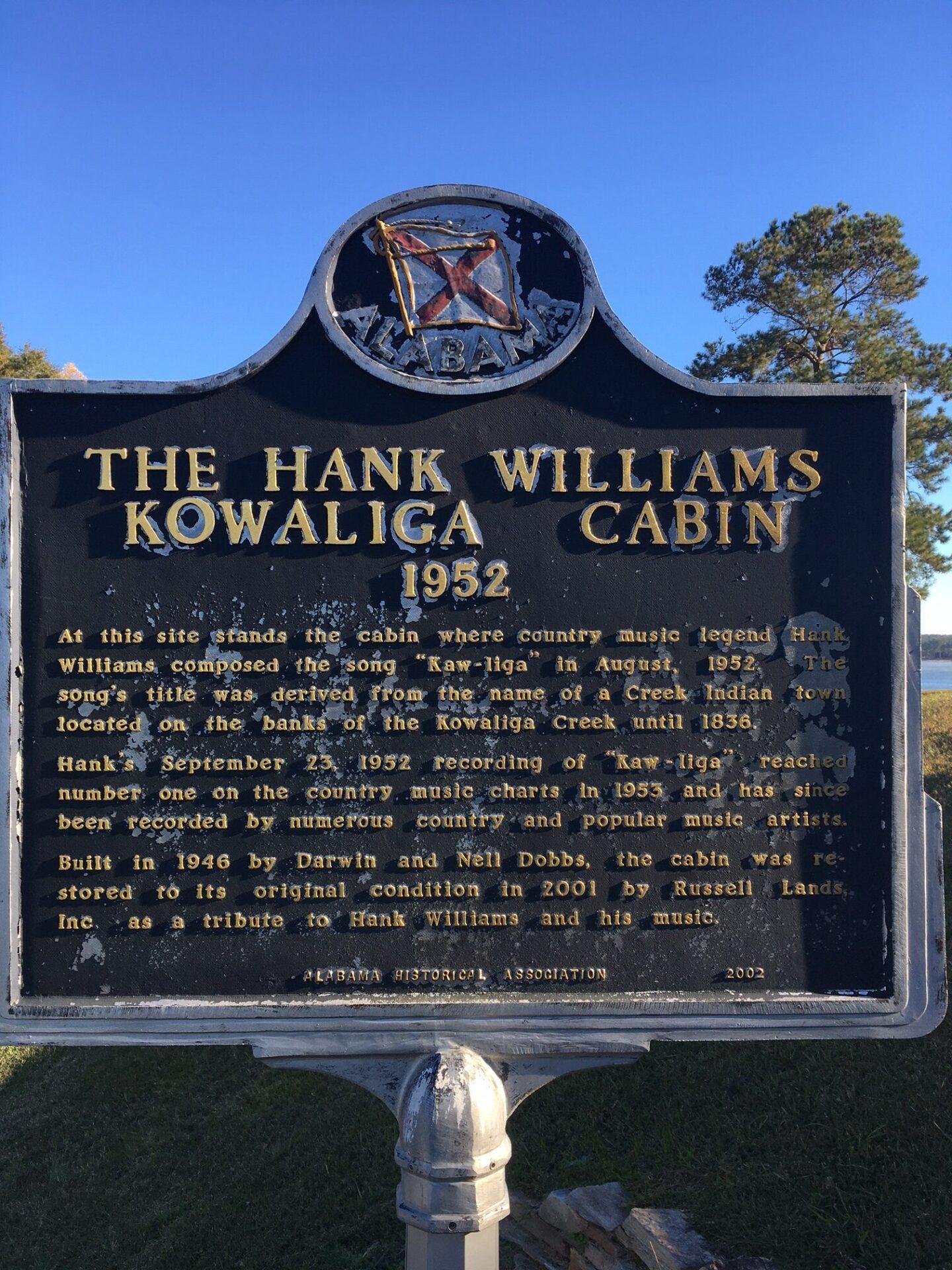 hank williams cabin sign