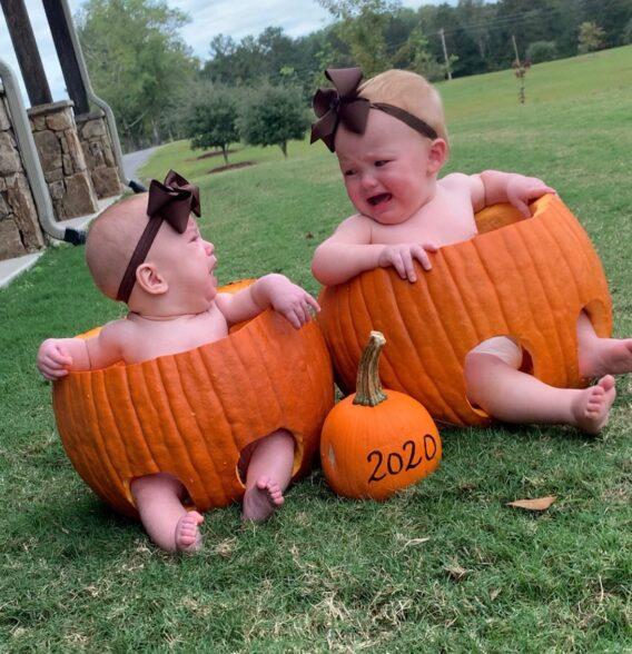 babies in pumpkins