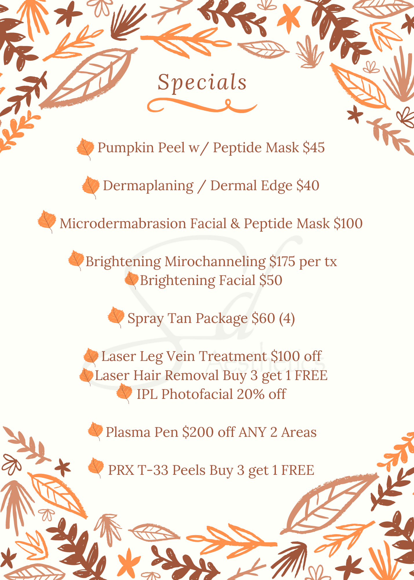 flyer for event at spa listing prices