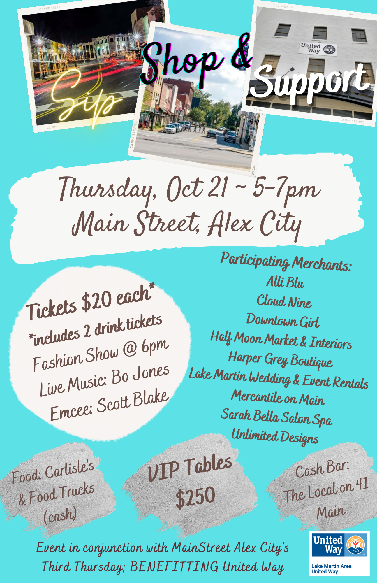 event flyer for Sip and Shop