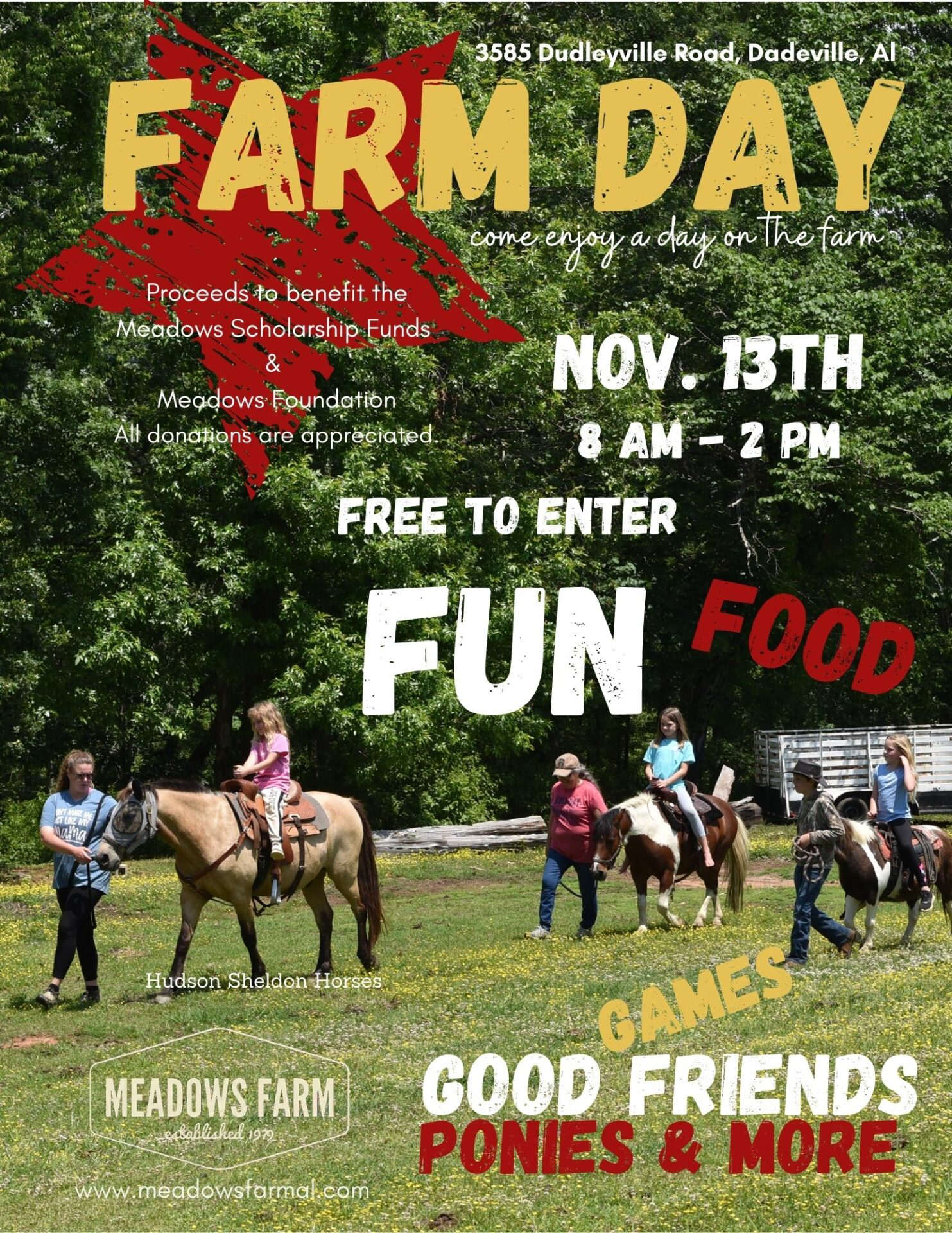 flyer for farm day event at meadows farm