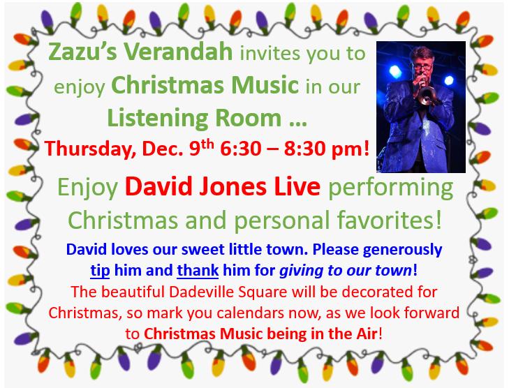 event flyer for Christmas music at Zazu's Verandah