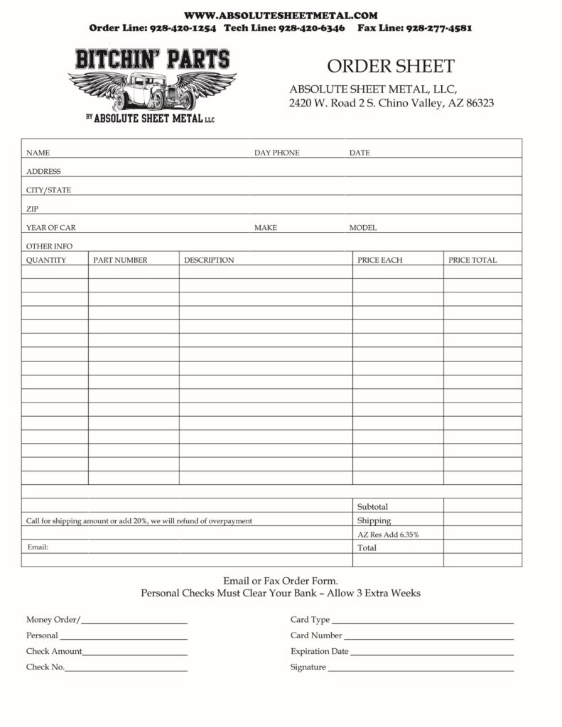 Bitchin Parts Absolute Sheet Metal Order Form