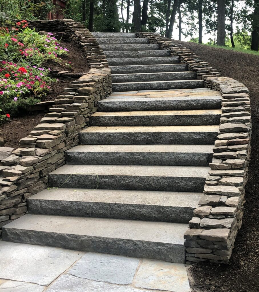 Stair with retaining wall.