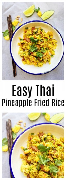 Thai Pineapple Fried Rice Recipe-Thai-Foodie: Love how all the flavors in Thai Pineapple fried rice go so perfectly together: pineapple, cashews, green onions, green peas, carrots, and tumeric! Easy, and yummy Thai fried rice weeknight dinner!