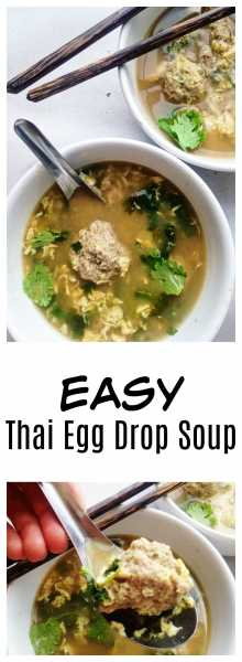 Thai Egg Drop Soup has such heart-warming flavors: cilantro, green onion, easy meatballs, and eggs, and is the perfect quick, weeknight meal!   thai-foodie.com