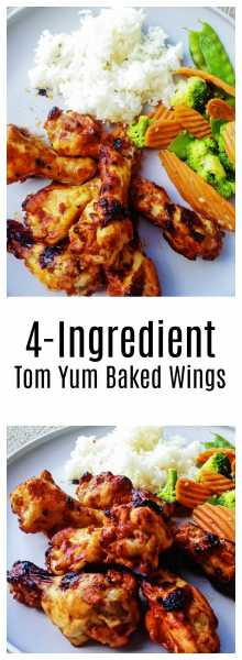 4 Ingredient Tom Yum Baked Wings-Only four ingredients, tom yum paste, ketchup, sambal paste, and chicken! It's quick, easy and toddlers love it!   thai-foodie.com