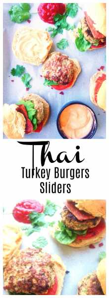 he perfect fusion of Thai and American food, a healthy Thai Turkey Slider jam-packed with flavors like ginger, green onion, garlic, cilantro and Thai chili pepper if you are up for it, and topped with an easy Thai Sriracha homemade mayo!   thai-foodie.com